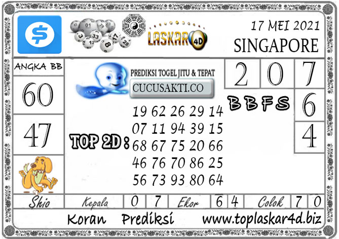 Prediksi Togel SINGAPORE POOLS LASKAR4D 17 MEI 2021