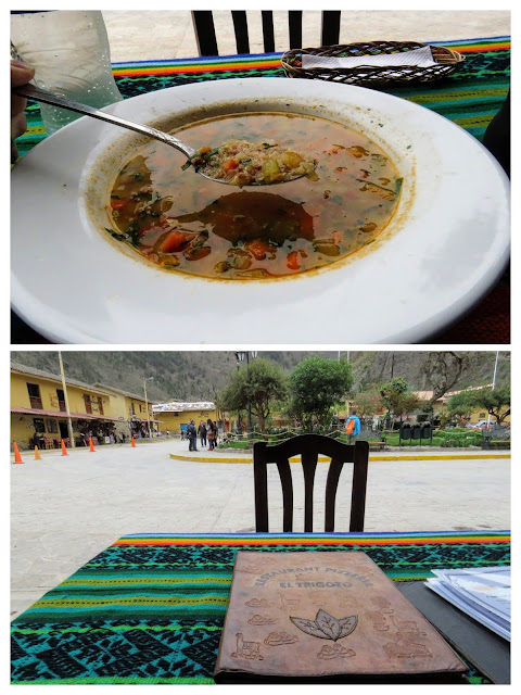 Eating quinoa soup on Plaza Ollantaytambo in Peru