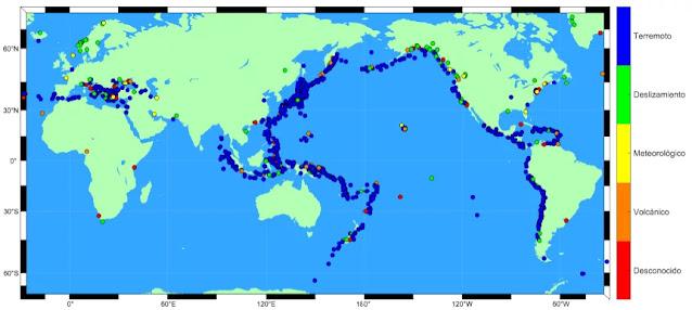 Ubicación histórica de Tsunamis