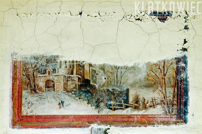 Łódź. Kamienica. Klatka schodowa. Malowidło z pejzażem zimowym.