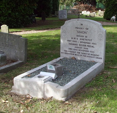 Burial place of Simon, cat of the Amethyst, in PDSA animal cemetery, Ilford