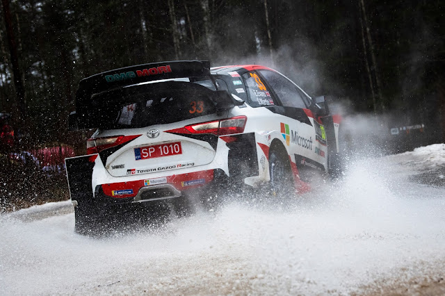 Elfyn Evans Kicking up snow on way to win Rally Sweden