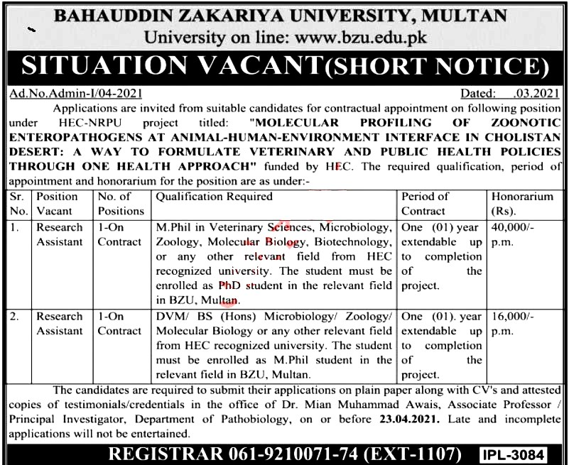 Latest Jobs in Bahauddin Zakariya University Multan MZU 2021