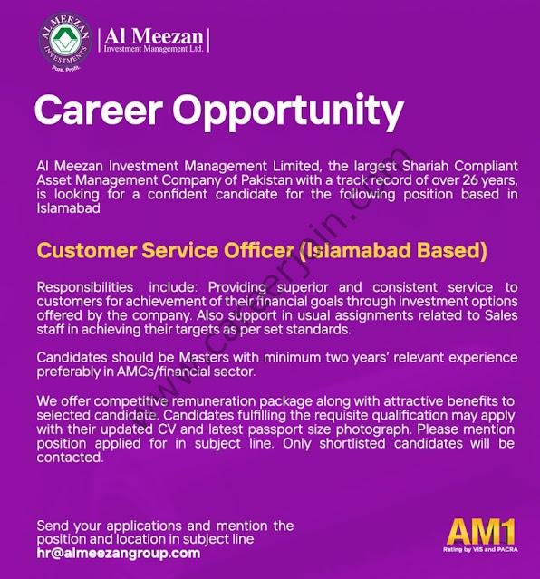 Al Meezan Investment Management Ltd Jobs Customer Service Officer