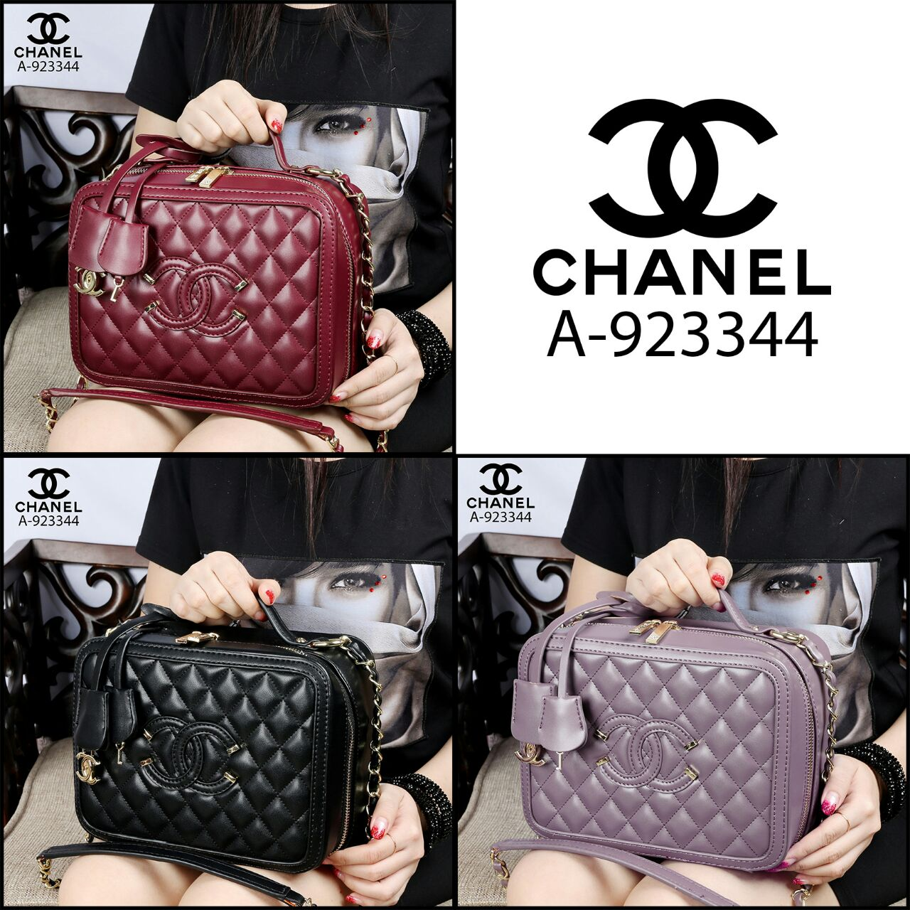 Kode GI 001 : CHANEL Cc Filigree Vanity Celebrity Bags Lambskin Leather Like Ori Hardware Gold A-923344