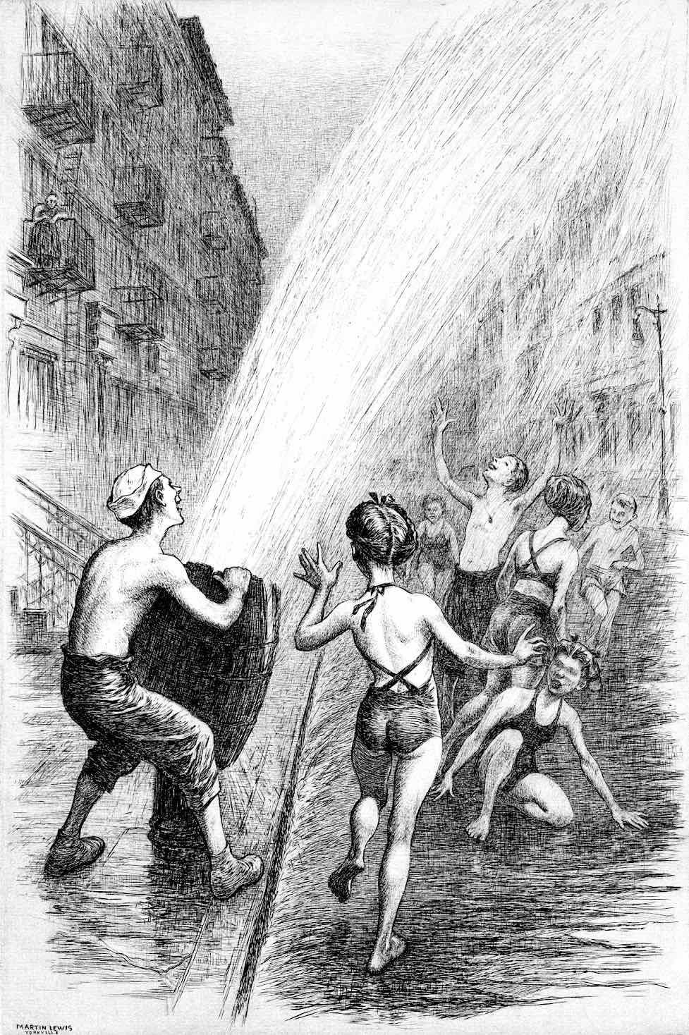 a Martin Lewis print 1946, urban children playing with an open fire hydrant