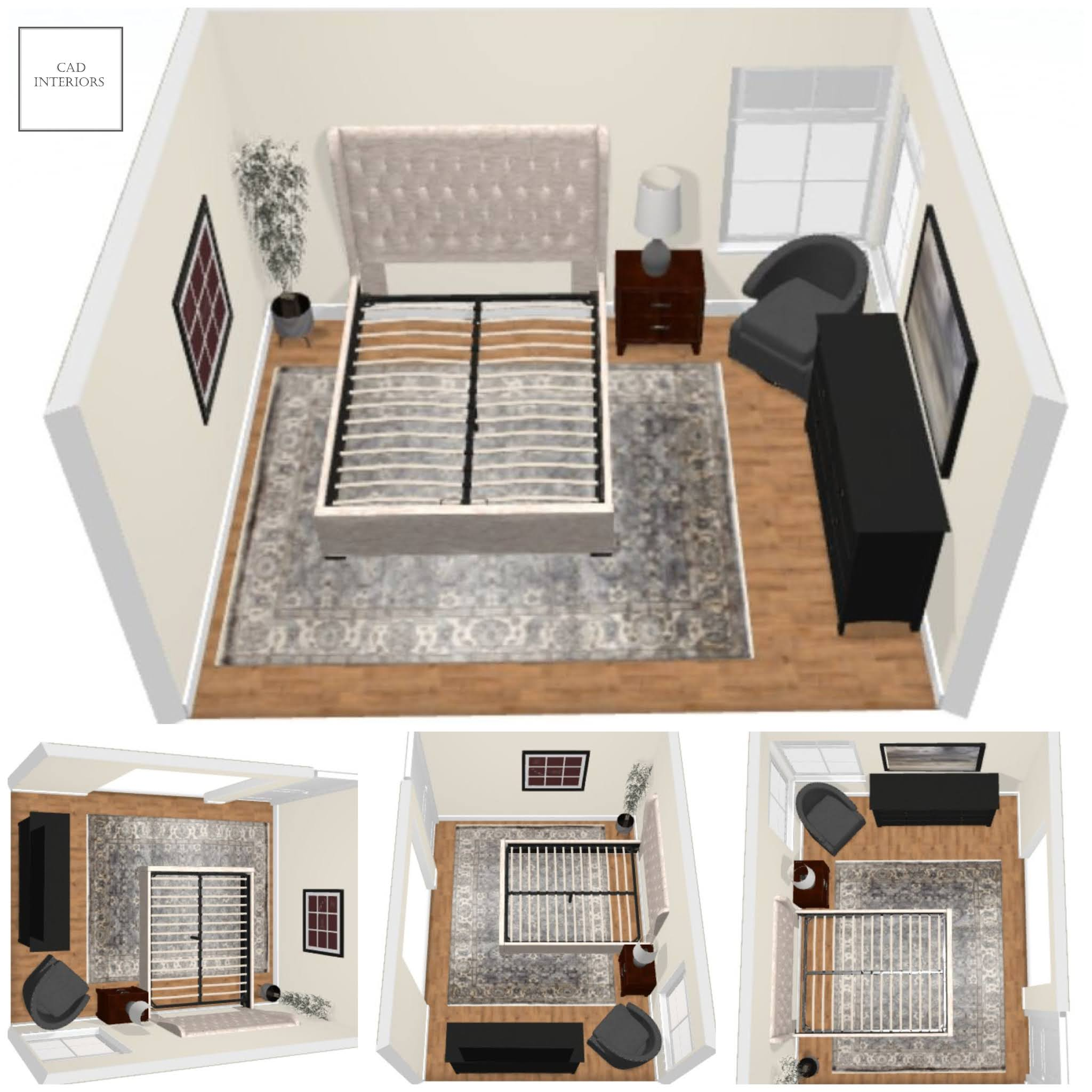 CAD Interiors professional online interior e-design primary master bedroom design