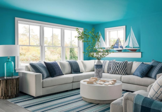 Blue Painted Living Room Walls and Ceiling