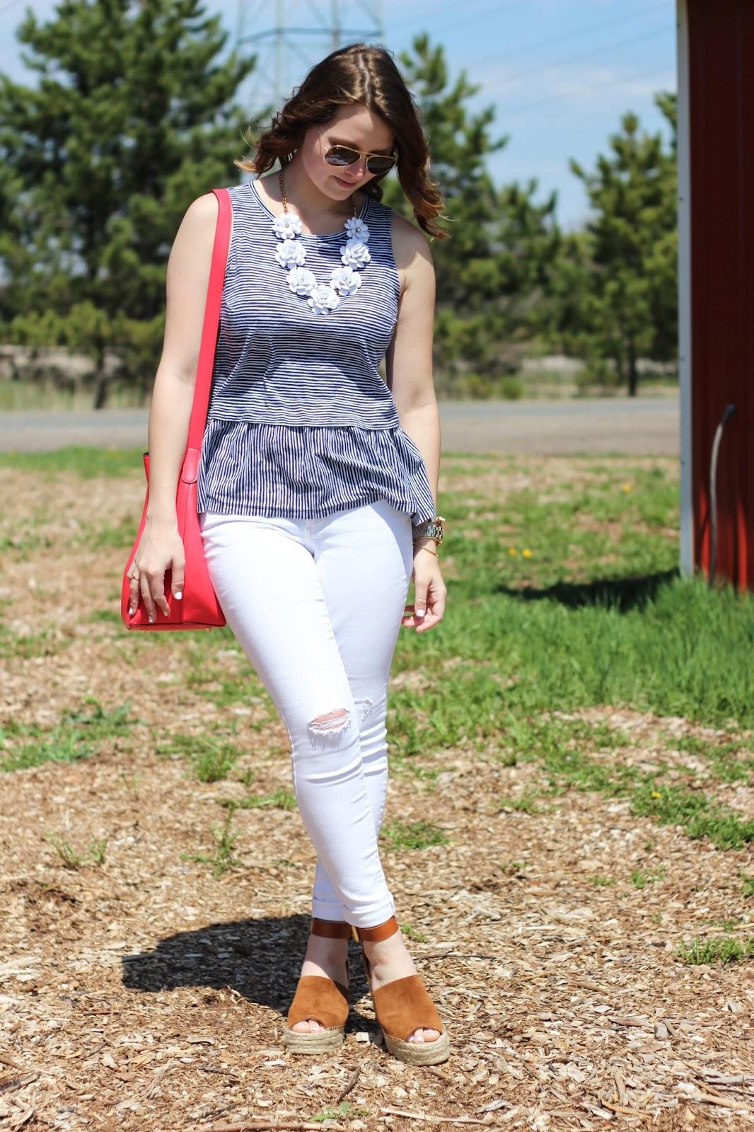 44c19612ecf516 ... BP Distressed High Waist Skinny Jeans | Marc Fisher LTD 'Adalyn'  Espadrille Wedge Sandal | J.Crew Crystal Floral Burst Necklace | Baublebar  'Spyda' Cuff ...