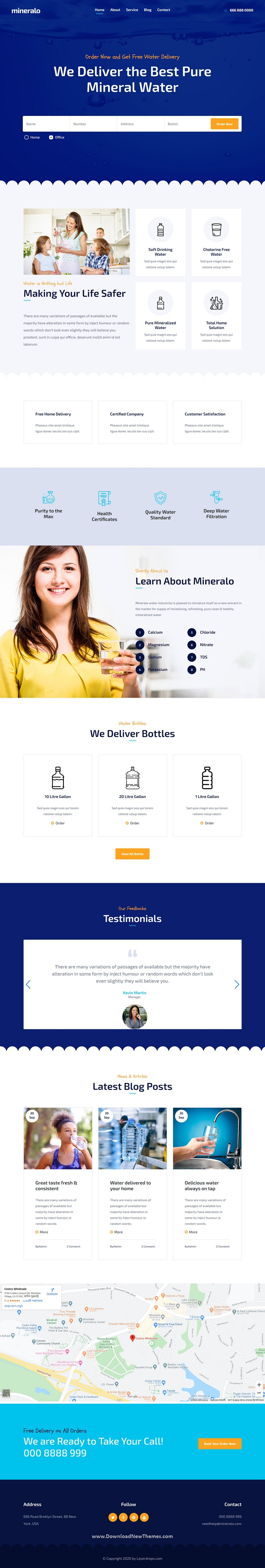 Bottled Water Delivery Service Website Template