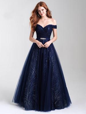 Off the shoulder Madison Jame prom dresses Navy Blue color