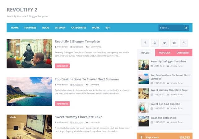 Revoltify 2 Blogger Template - tin tức khá đẹp