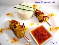 Brocheta Tikka Masala de pollo