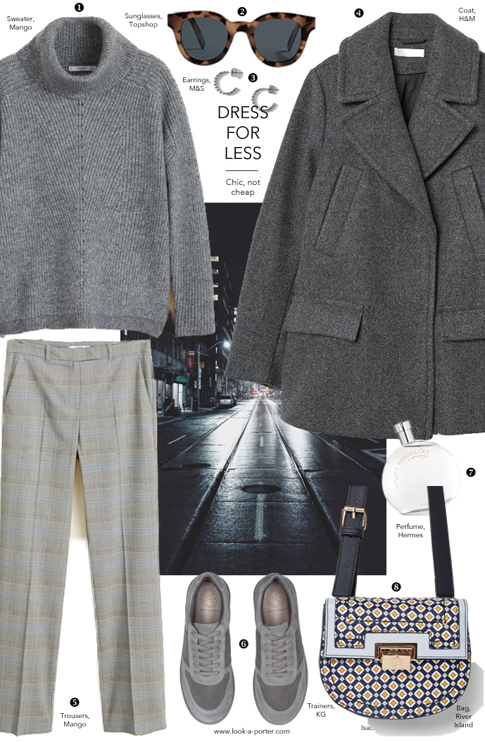 Look for less, grey sweater, trousers, peacoat, trainers, sunglasses and bag for look-a-porter.com fashion blog