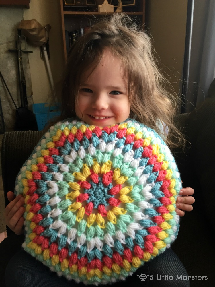 5 Little Monsters: Round Crochet Cluster Stitch Pillow