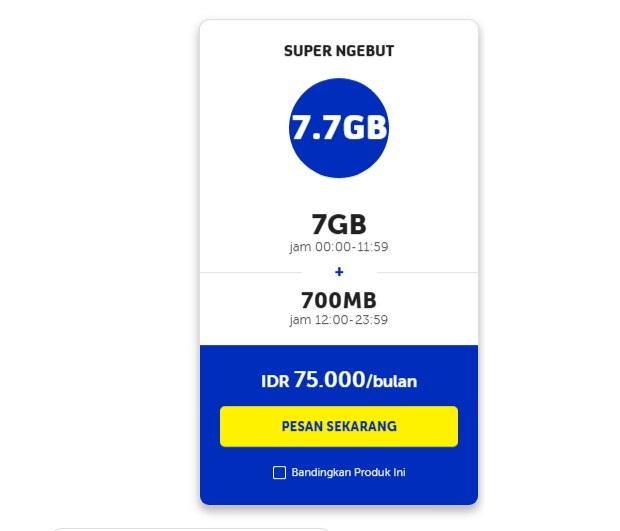 Paket Malam XL Malam 7.7GB Bulanan Terbaru 2019