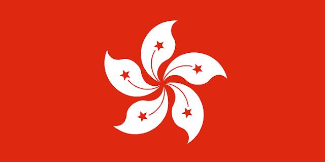 香港の旗…赤の背景に白い花