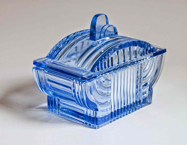 1930s art deco blue glass dish