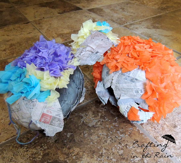 homemade pinatas with tissue paper busted open