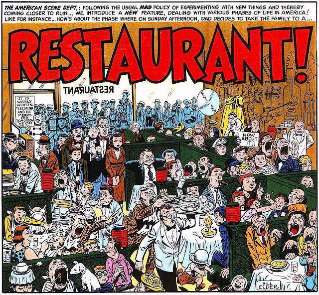 a 1950s story panel from the MAD's Restaurant! by Bill Elder, showing a crowded busy restaurant