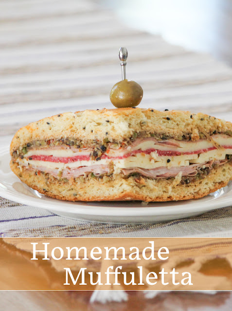 Food Lust People Love: This homemade muffuletta is my take on a popular New Orleans favorite, made with fresh olive salad, mortadella, mozzarella, salami, ham and provolone.