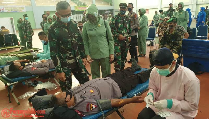 Jelang HUT TNI Ke 75, Korem 064/MY Gelar Baksos Donor Darah