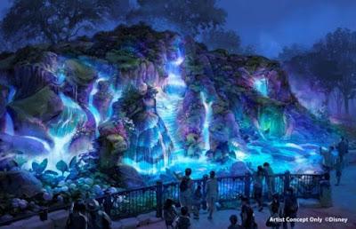 Fantasy Springs Waterfall Magic at Night Tokyo Disney Sea Concept Art