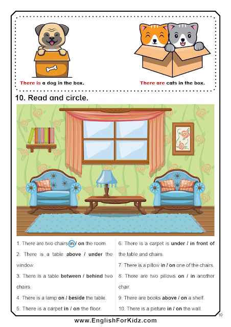 Prepositions worksheet - there is, there are structure