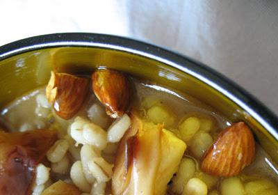 Barley Porridge with Honeyed Almonds and Roasted Apples