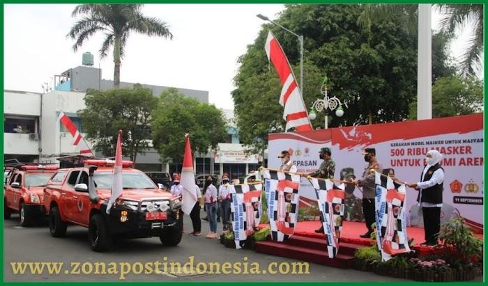 PANGLIMA TNI, KAPOLRI DAN BNPB LUNCURKAN GERAKAN MOBIL MASKER DI MALANG
