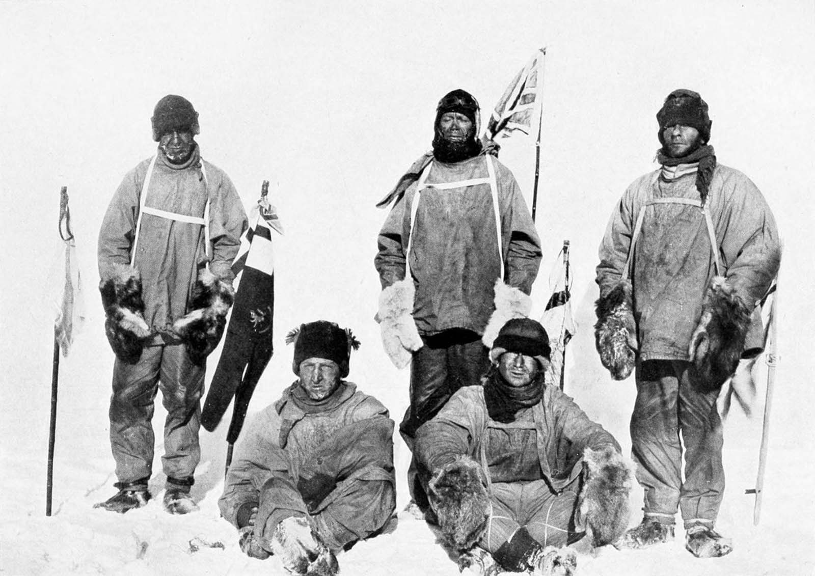 Dr. Wilson, Capt. Scott, Capt. Oates, Henry Bowers and Edgar Evans pose at the South Pole. January 18, 1912.