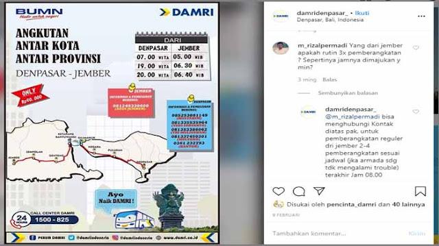 Bus Damri Jember Denpasar, Jadwal & Harga Tiket