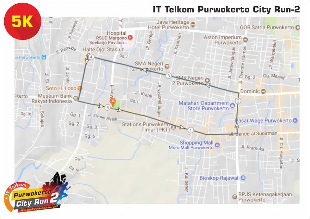 IT Telkom - Purwokerto City Run 2 5K Route 2018