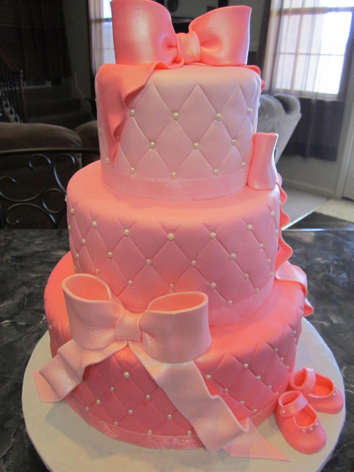 Mymonicakes Three Tier Quilted Pink Amp Pearl Baby Shower
