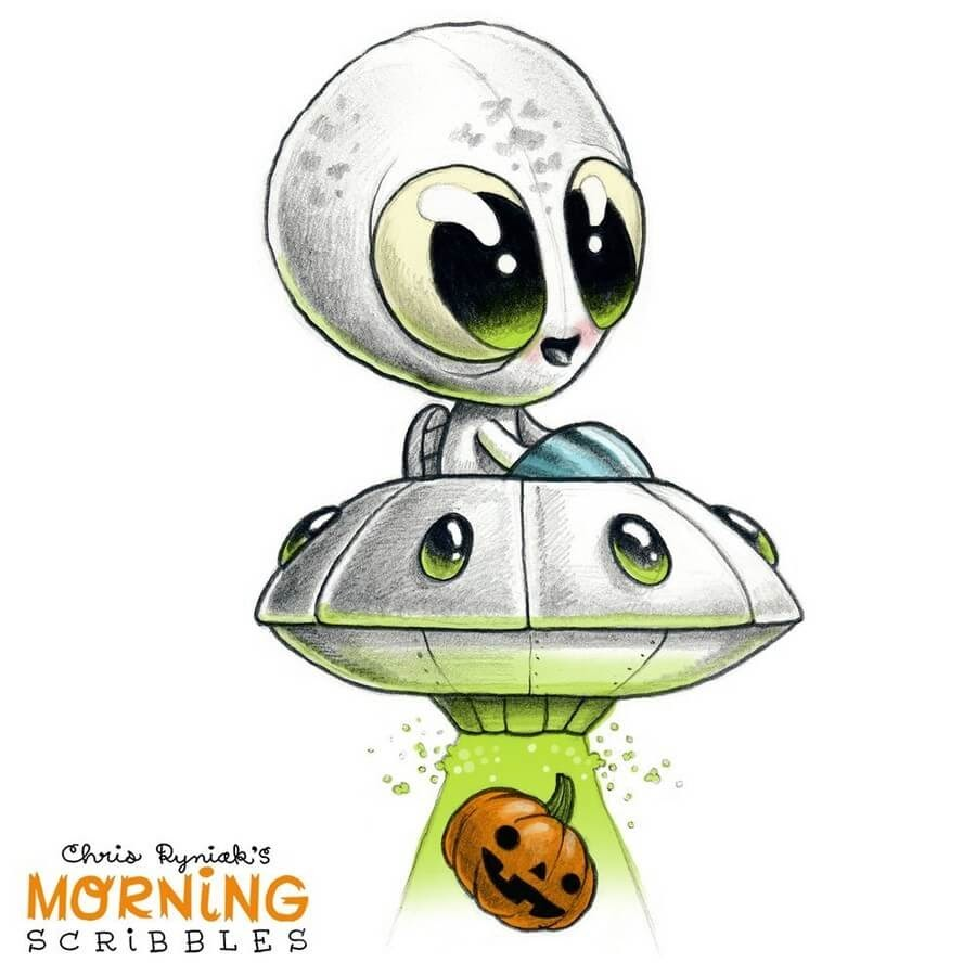 06-Pumpkin-Alien-Chris-Ryniak-Cute-Creatures-www-designstack-co