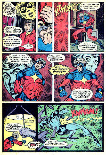 Captain Marvel #25 marvel 1970s bronze age comic book page art by Jim Starlin