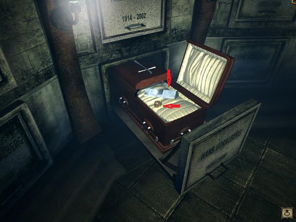 девушка забирает звуковой валик и газету в гробу в игре сибирь