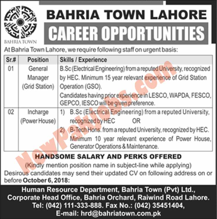 Bahria-Town-Lahore-Jobs-September-2018