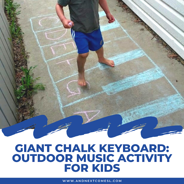 Giant piano keyboard drawing made out of chalk as part of an outdoor music activity for kids
