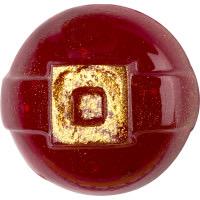 A red circular pot of shower jelly with a golden square in the middle full of shimmer to represent a gold belt buckle on a bright background