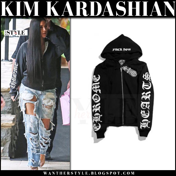 Kim Kardashian in black zip-up hoodie chrome hearts and ripped jeans what she wore 2017