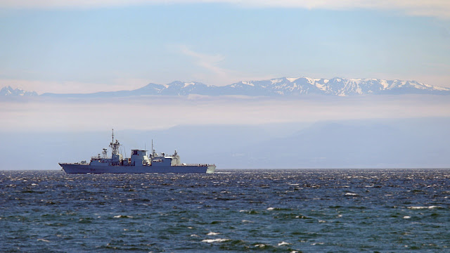 A Canadian warship on patrol...