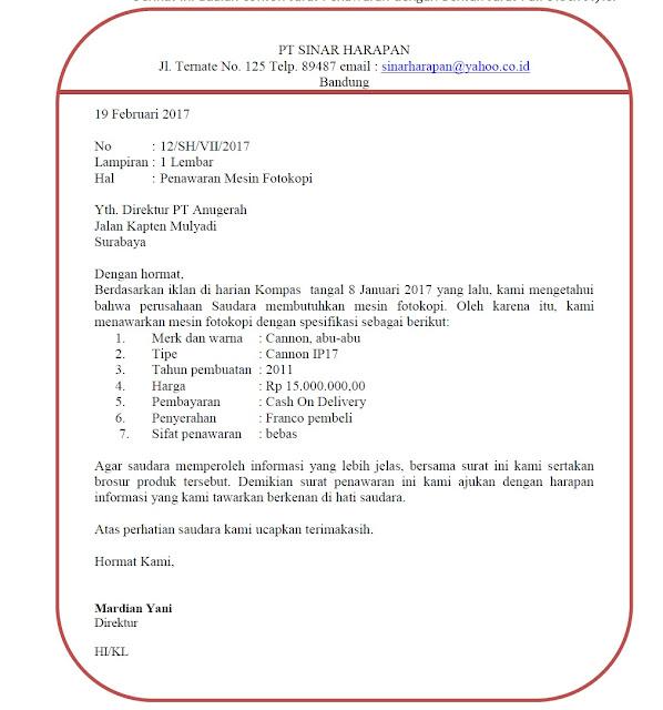 Surat Penawaran Barang Yang Baik Dan Benar (via: ruangguruku.com)