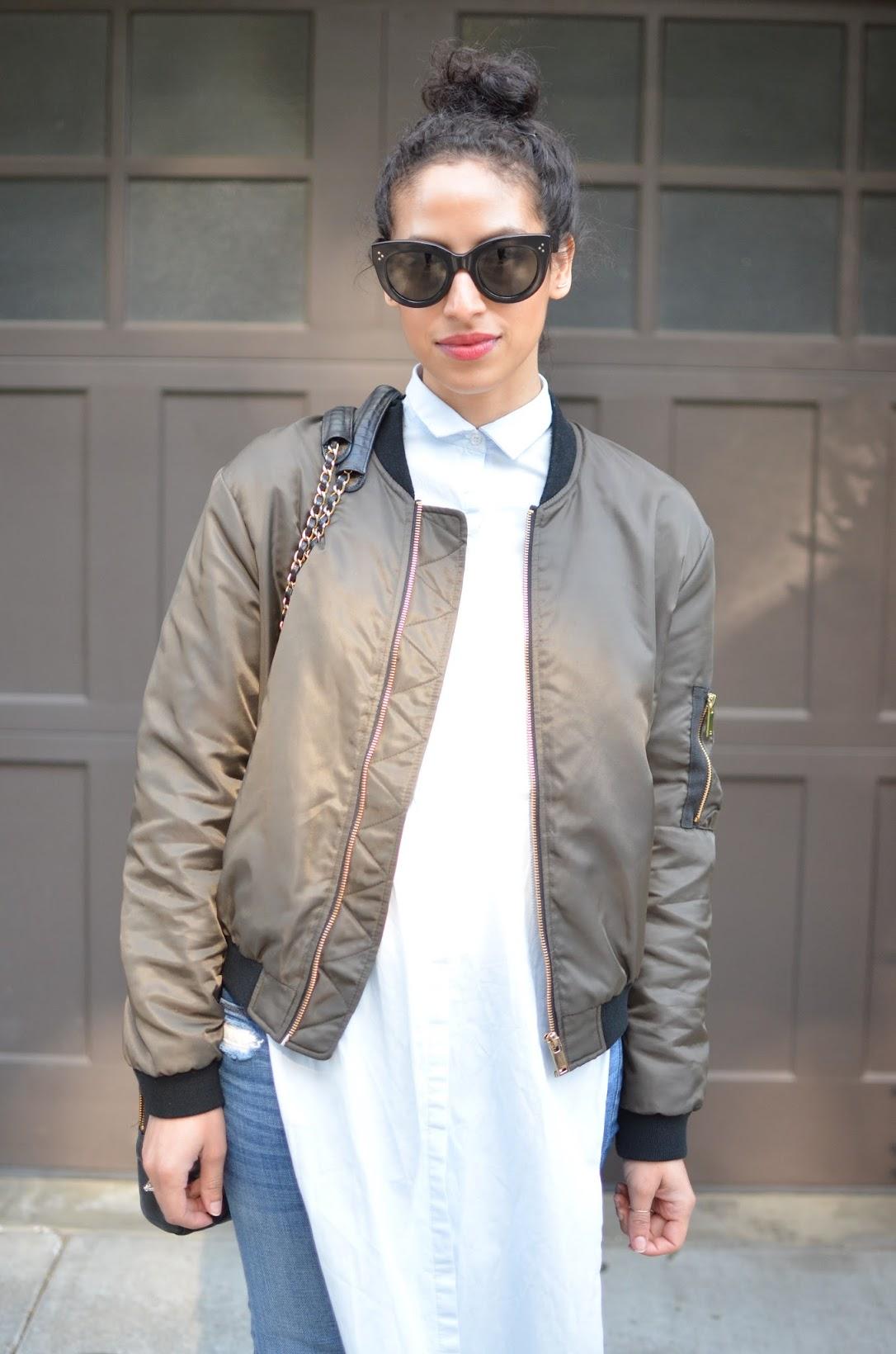 Zara olive bomber jacket, olive bomber jacket, bomber jacket, zara bomber jacket, spring style, chic spring style, Street style, Zara, Celine audrey sunglasses