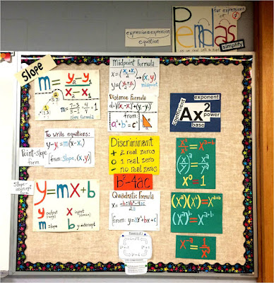 Here is a photo of one of my first math word walls. The slope, y = mx + b, exponents and Pemdas posters are made from cut paper.