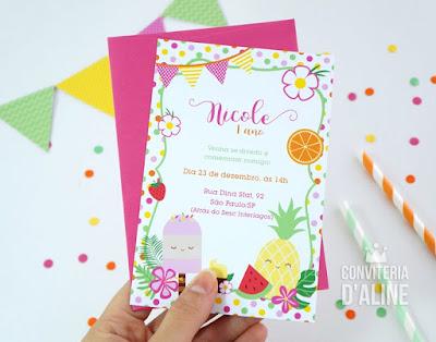 convite festa frutas flores verão sorvete
