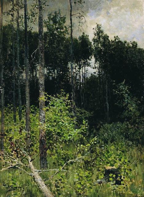 Исаак Ильич Левитан - Осиновая рощица. Серый день. 1884