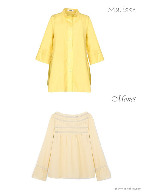 comparing a yellow shirt to a soft yellow blouse