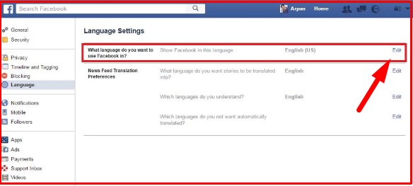 how to change language on facebook to english