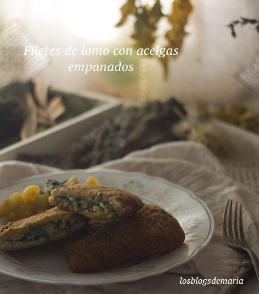 Filetes de lomo con acelgas empanados